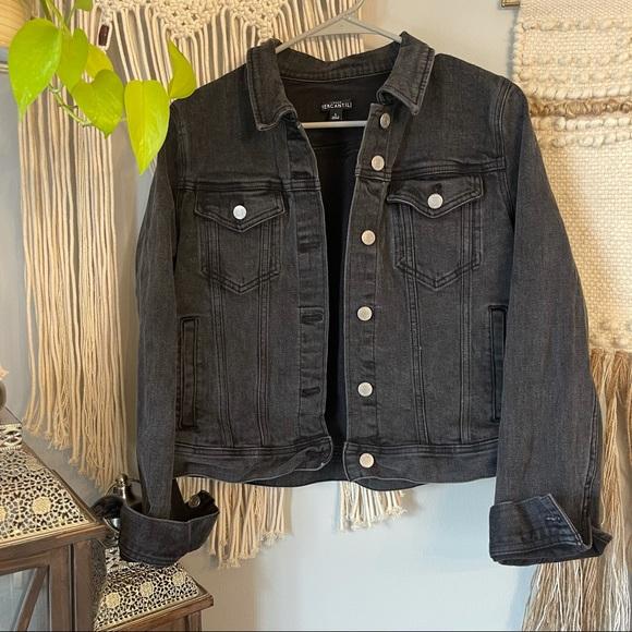J. Crew Distressed Black Jean Jacket